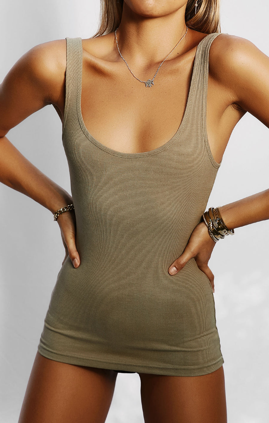 THE LUXE RIB TANK - MOSS