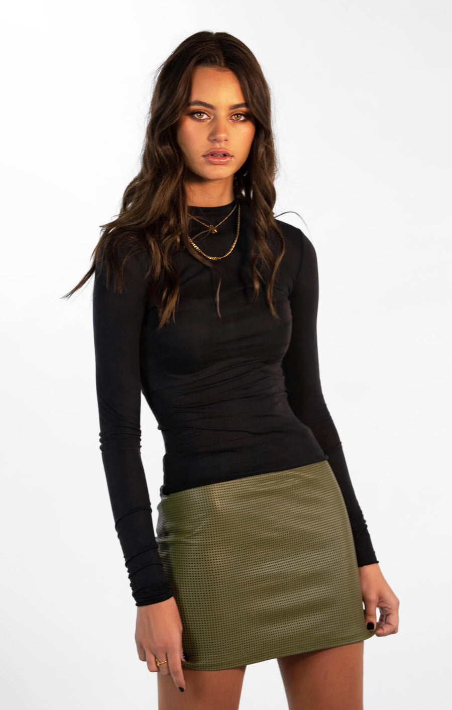 THE GO TO LEATHER MINI - KHAKI