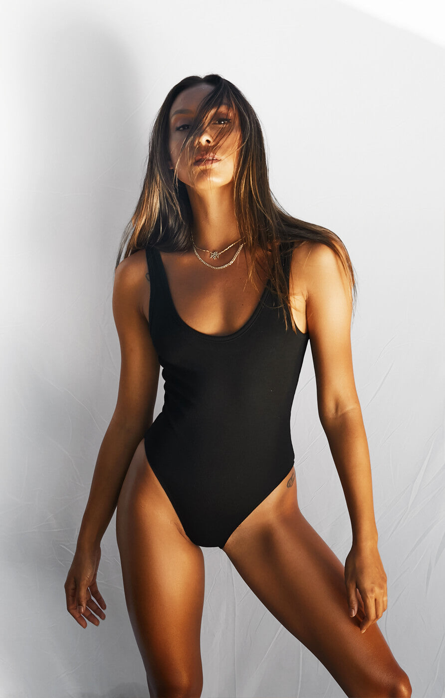 THE RIBBED BODYSUIT - BLACK