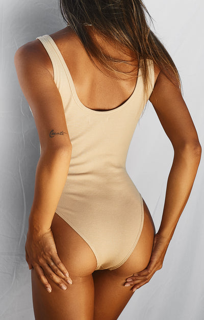 THE RIBBED BODYSUIT - CAMEL