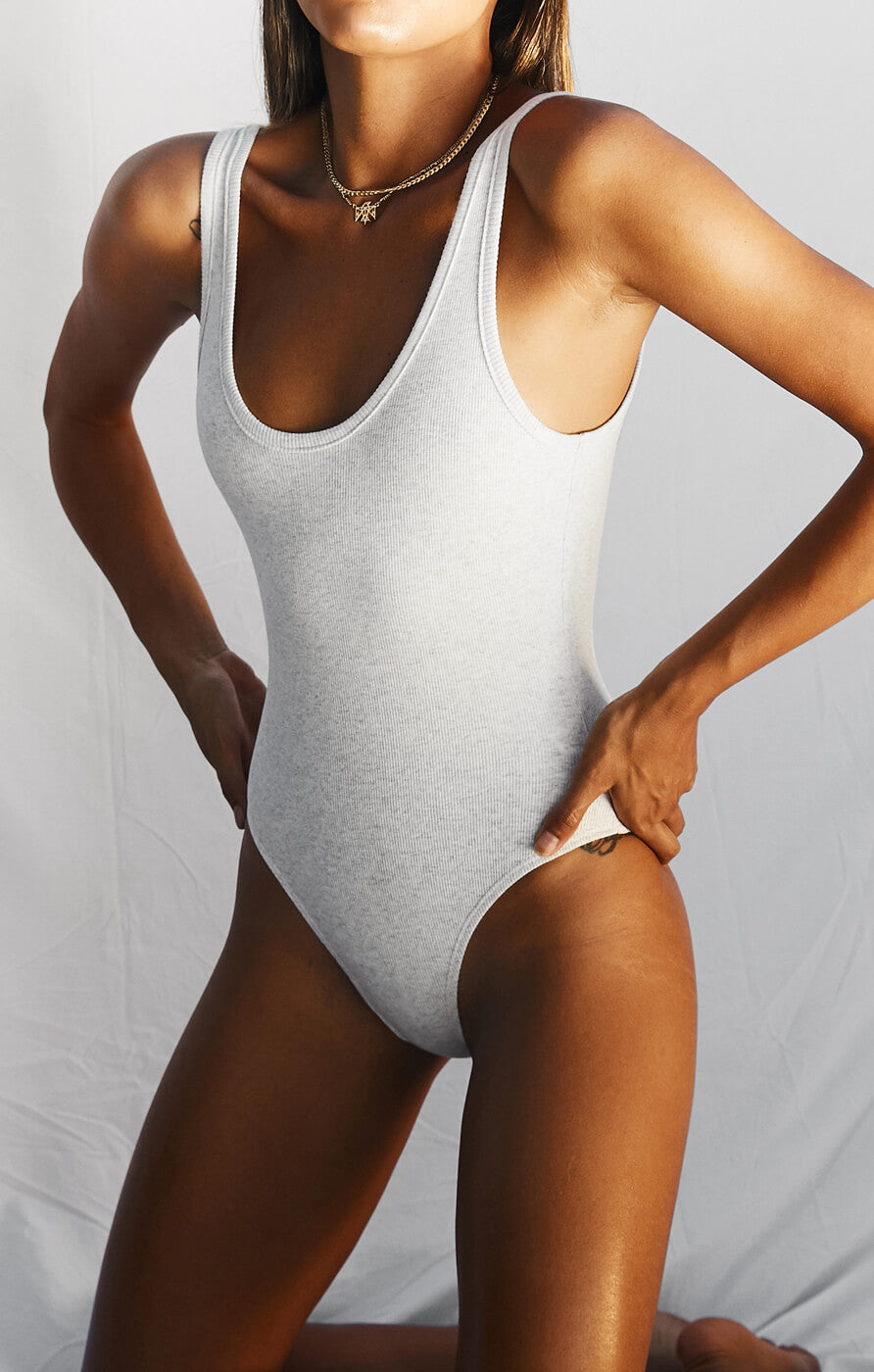 THE RIBBED BODYSUIT - ICE GREY