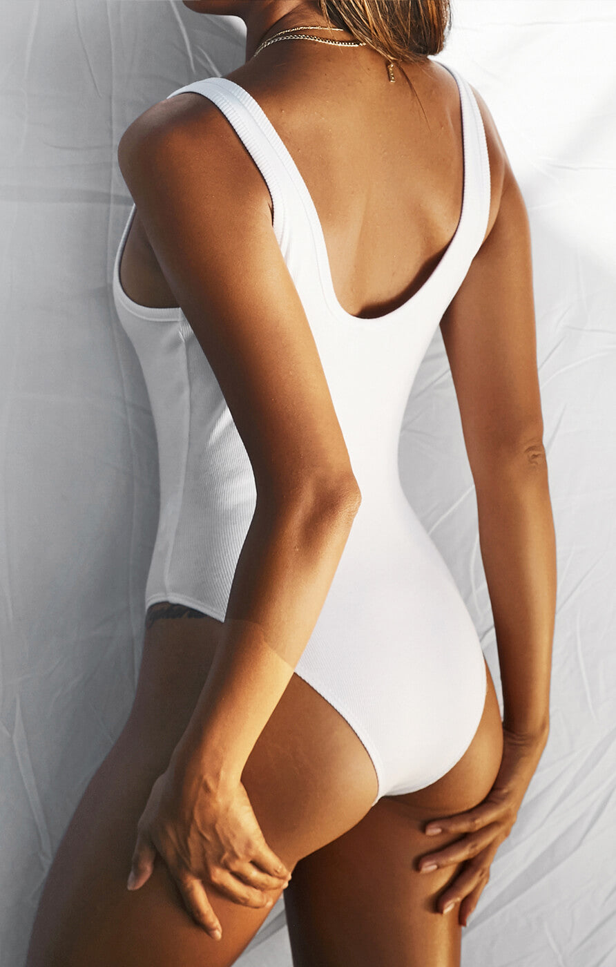THE RIBBED BODYSUIT - WHITE