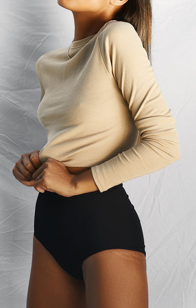 THE RIBBED LONG SLEEVE - CAMEL