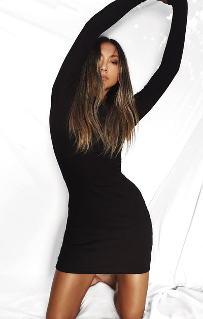 THE RIBBED LONG SLEEVE DRESS - BLACK