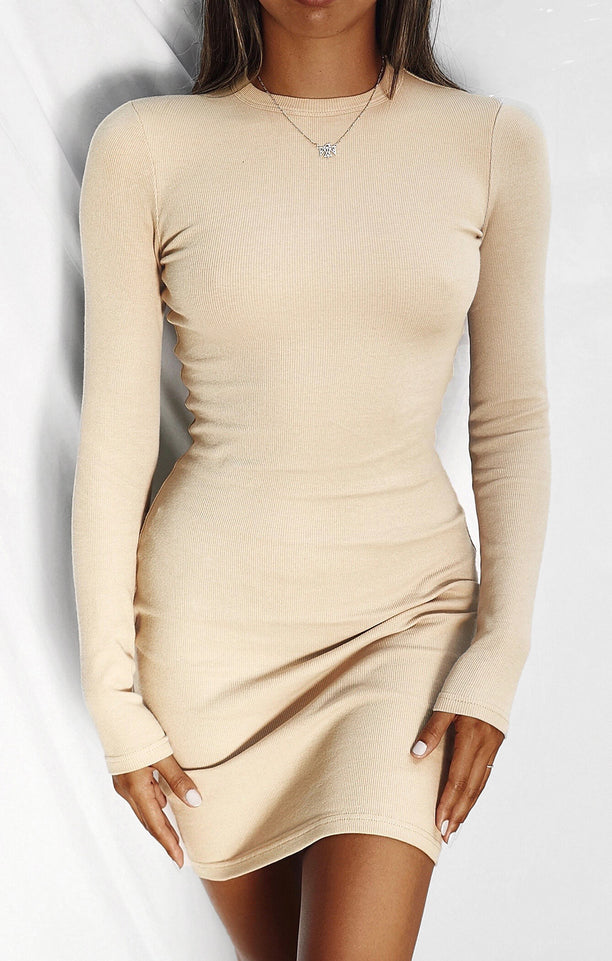 THE RIBBED LONG SLEEVE DRESS - CAMEL