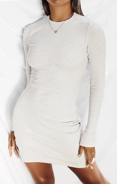 THE RIBBED LONG SLEEVE DRESS - ICE GREY