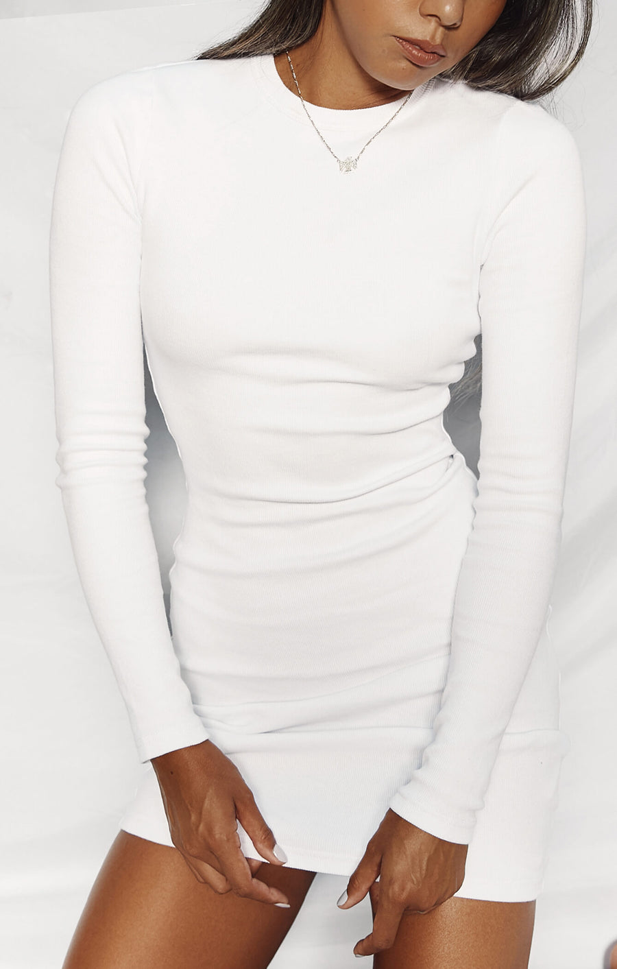 THE RIBBED LONG SLEEVE DRESS - WHITE