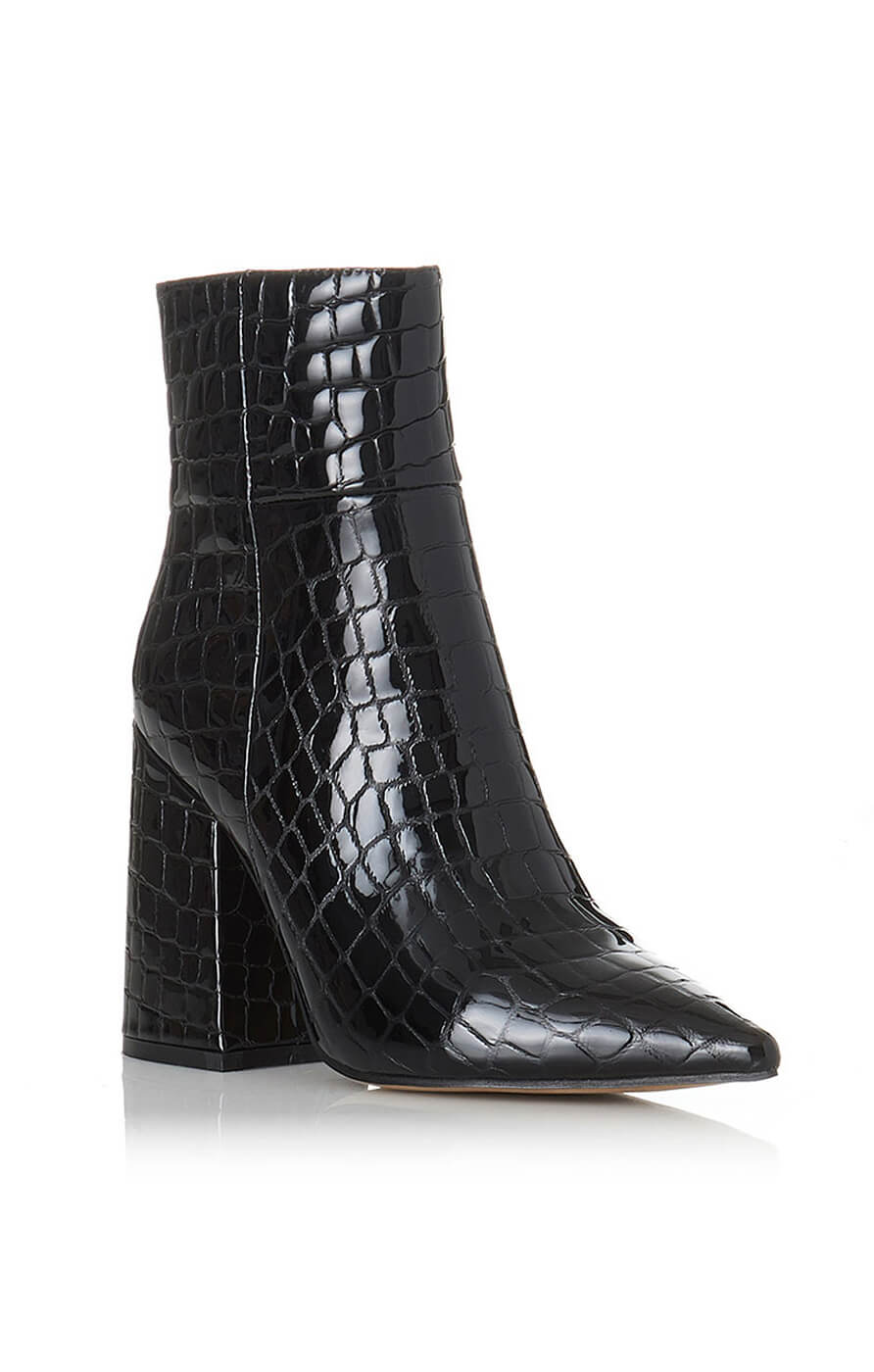 THE AHARA BOOT - BLACK CROC PATENT