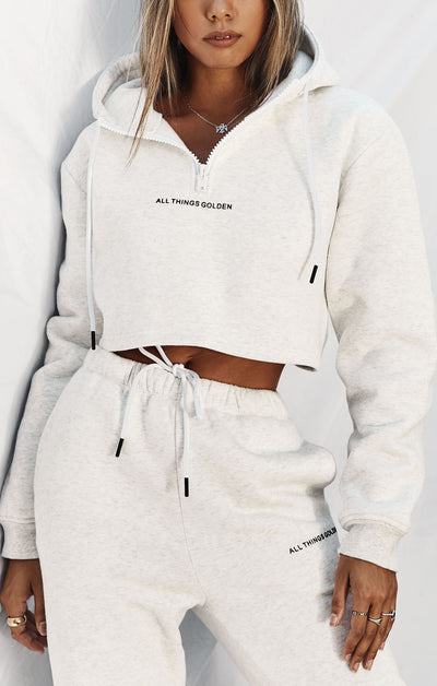 THE A.T.G CROPPED ZIP HOODIE - ICE GREY