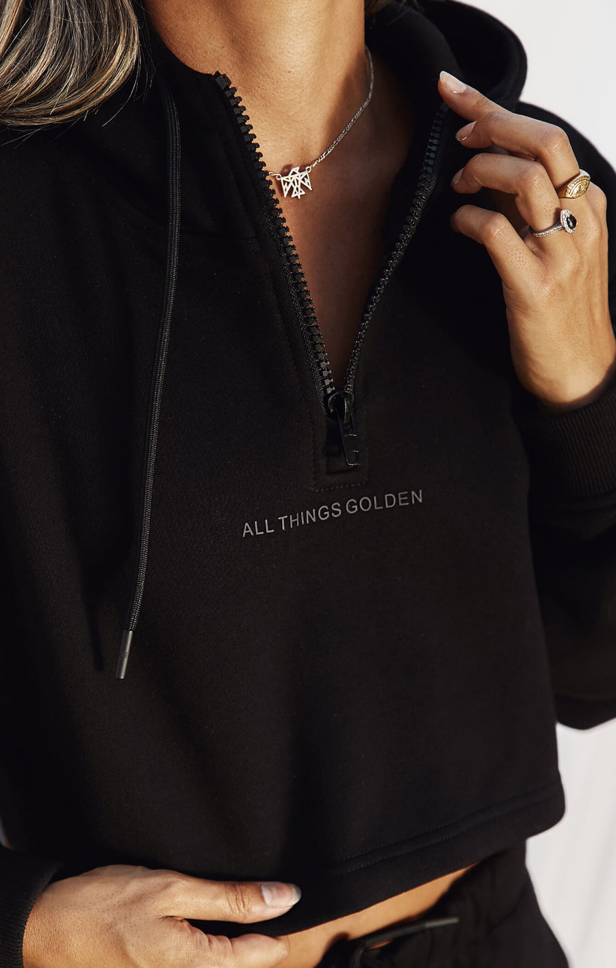 THE A.T.G CROPPED ZIP HOODIE - BLACK