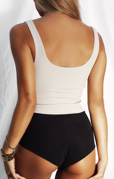 THE LUXE RIB CROP - STONE