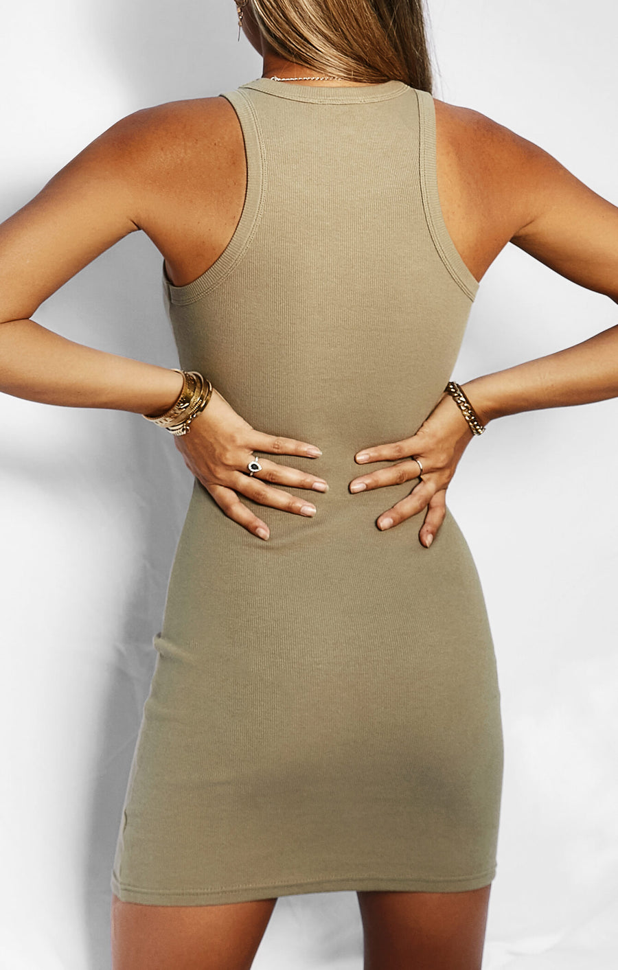 THE RIBBED MUSCLE DRESS - MOSS