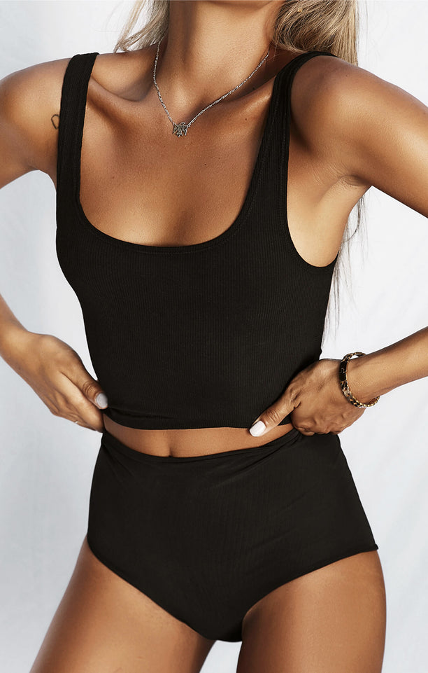 THE LUXE RIB CROP - BLACK