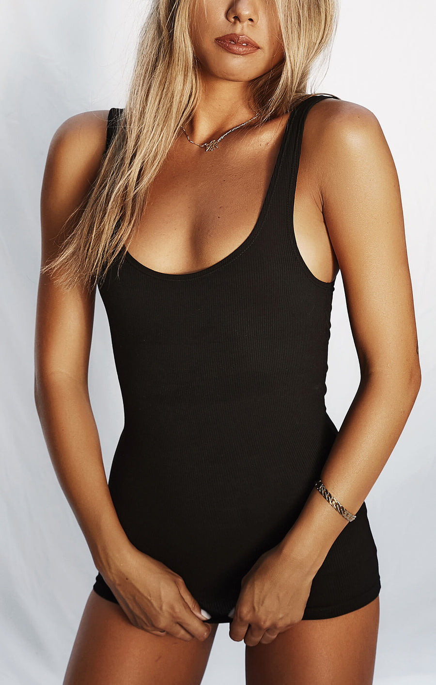 THE LUXE RIB TANK - BLACK