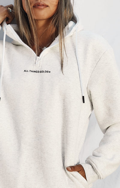 THE A.T.G ZIP HOODIE - ICE GREY