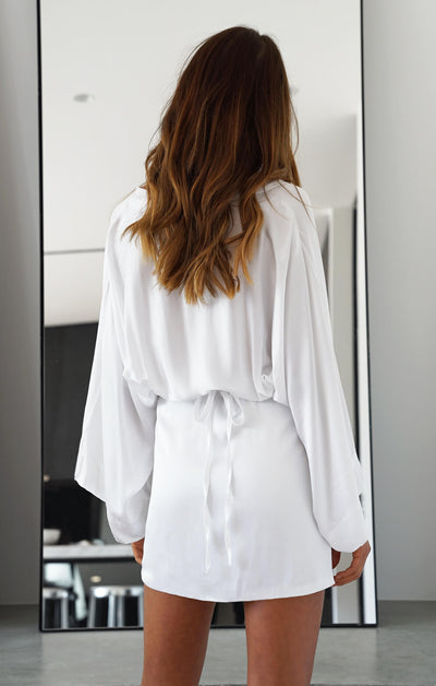 THE LUSH KIMONO DRESS - WHITE