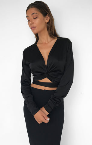 THE ALLURE WRAP TOP - BLACK