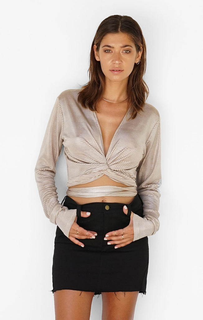 THE ALLURE WRAP TOP - METALLIC GOLD