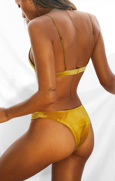THE BRAZILIAN BOTTOMS - GOLD RIBBED VELVET