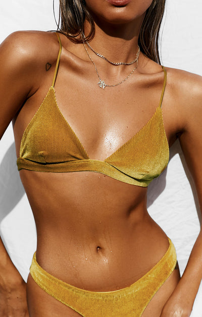 THE TRIANGLE TOP - GOLD RIBBED VELVET