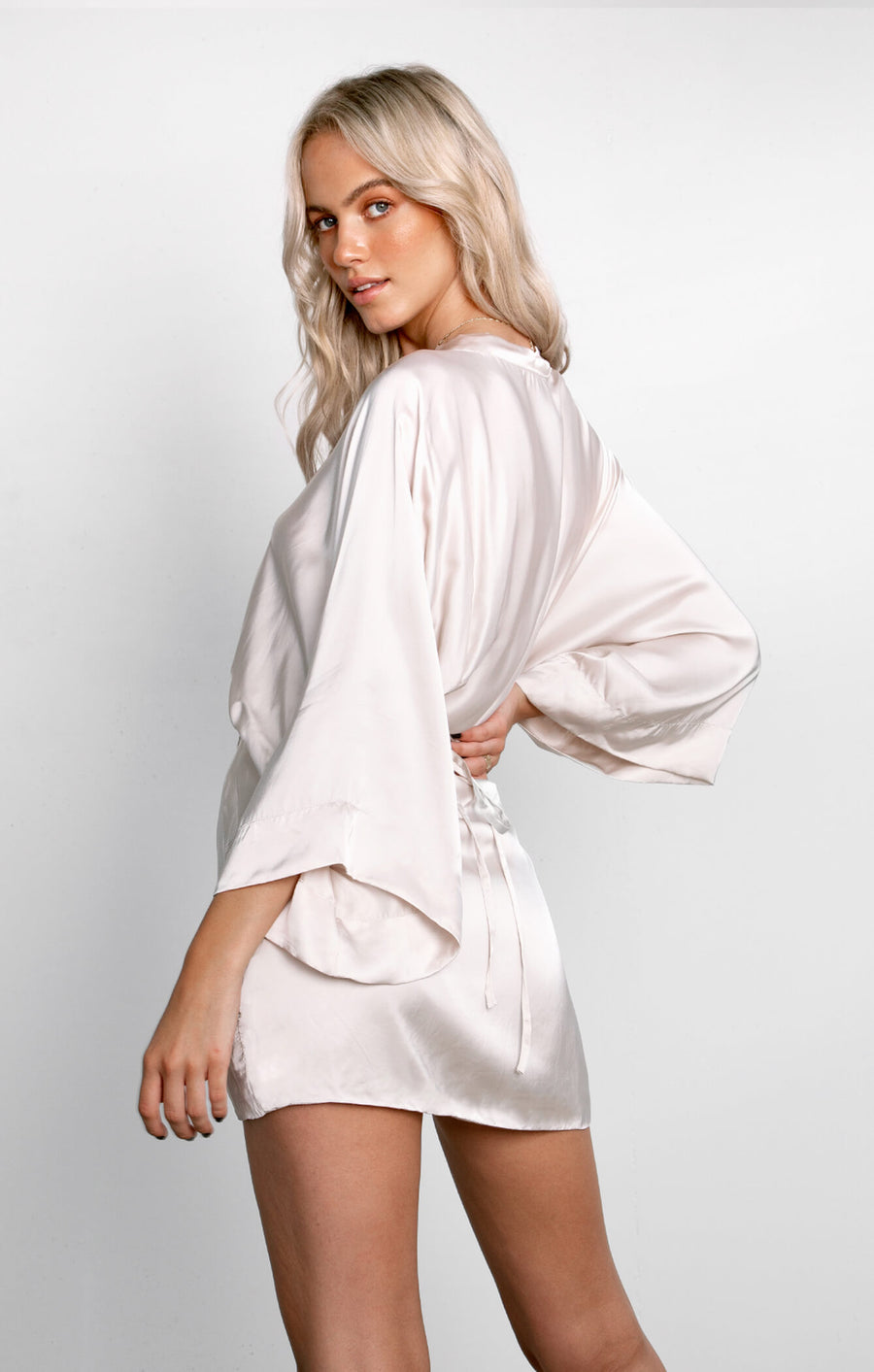 THE LUSH KIMONO DRESS - BONE
