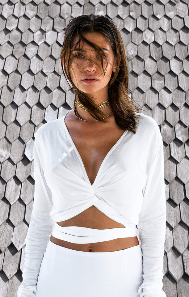 THE ALLURE WRAP TOP - WHITE