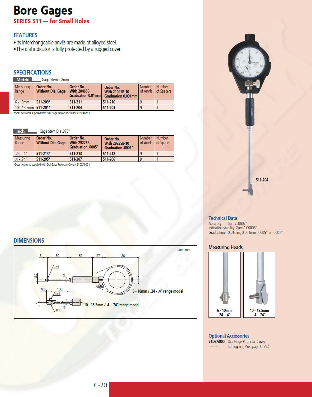 100-125mm Range 0.01mm Graduation +//-0.005mm Accuracy Mitutoyo 133-145 Tubular Vernier Inside Micrometer