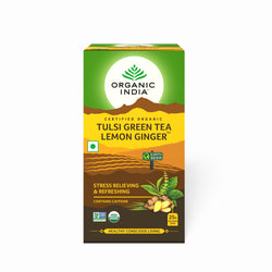 Organic India Tulsi Green Tea Lemon Ginger 25 Tea Bags