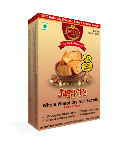 Early Foods Organic Dry Fruit Jaggery Rusk 150g