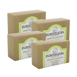 Pure Naturals Hand Made Soap Green Tea| Basil Leafs - 125g (Set of 4)