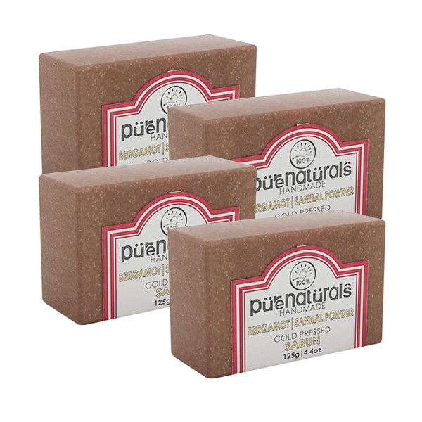 Pure Naturals Hand Made Soap Bergamot| Sandal Powder - 125g (Set of 4)