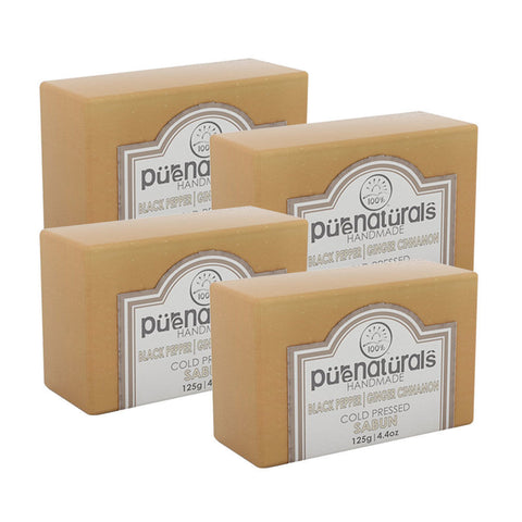 Pure Naturals Hand Made Soap Black Pepper| Ginger Cinnamon - 125g (Set of 4)