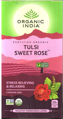 Organic India Tulsi Sweet Rose Tea (25 Infusion Bags)