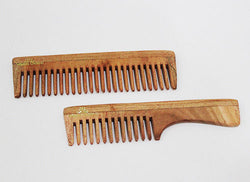 Vedic Delite Neem Wooden Combo: Wide Tooth & Grooming Comb with Handle