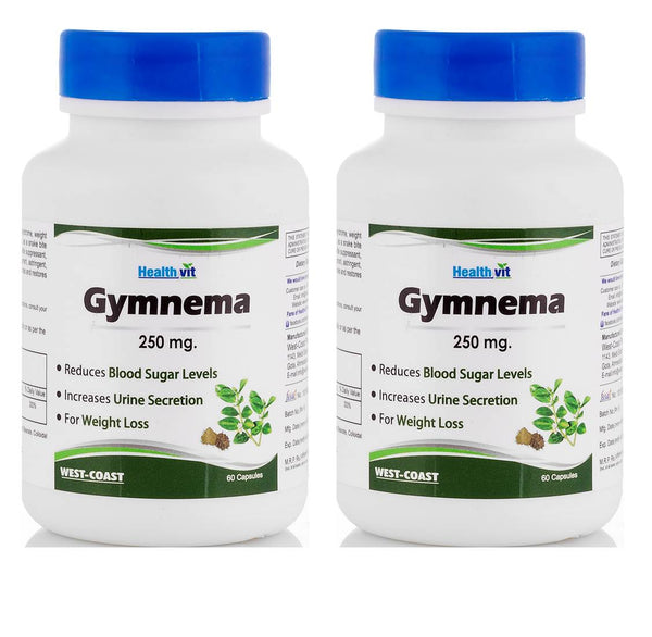 Healthvit Gymnevit Gymnema Powder 250mg 60 Capsules (Pack of 2)2