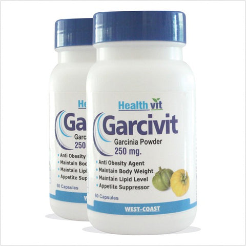 HealthVit GARCIVIT Pure Garcinia Cambogia Supplements for Weight Loss & Fat Burner 250 mg 60 Capsules (Pack of 2)