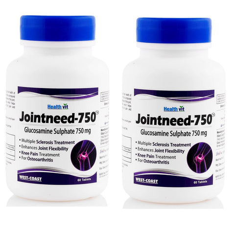 Healthvit Jointneed-750 Glucosamine Sulphate 750 mg 60 Tablets - Pack of 2