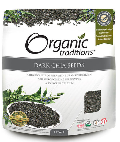 Dark Chia Seeds by Organic Traditions, 227 gms