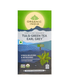 Organic India Tulsi Green Tea Earl Grey 25 Tea Bags