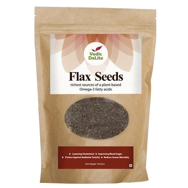 Vedic Delite Natural Flax Seeds, 150 Gms (Pack of 2)