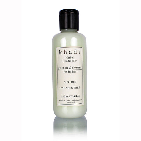 Khadi Herbal Green Tea & Aloevera Hair Conditioner - SLS & Paraben Free - 210 ml
