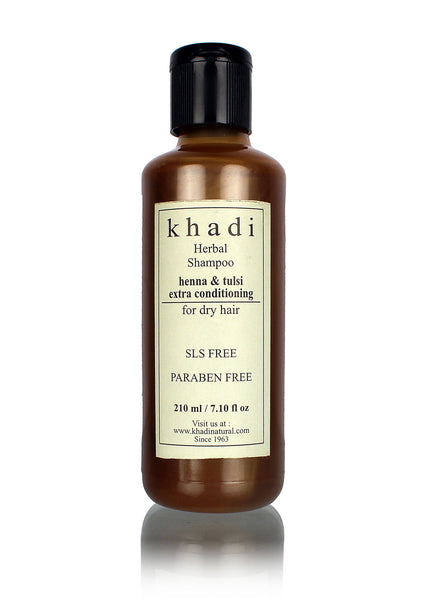 Khadi Herbal Henaa Tulsi Extra Conditioning Shampoo - SLS & Paraben Free - 210 ml