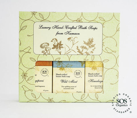 SOS Organics Luxury Hand Crafted Bath Soaps from Kumaon 240 gms