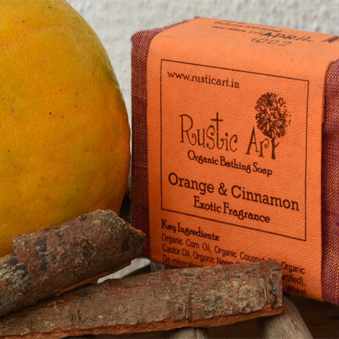 Rustic Art - Organic Orange & Cinnamon Soap - 100 gms