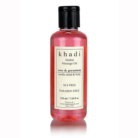 Khadi Rose & Geranium Massage oil (Sooths Mind & Body) - Without Mineral Oil - 210 ml