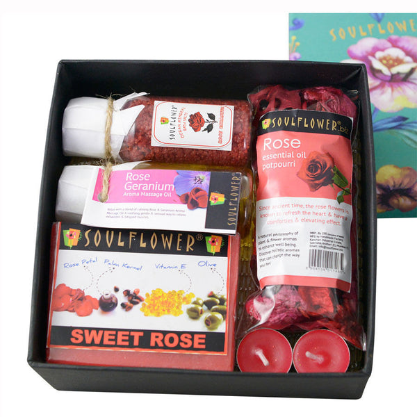 Soulflower Rose Try Me Bath Set - 530 gms