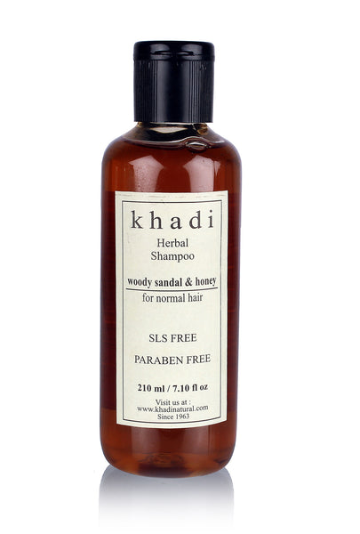 Khadi Woody Sandal & Honey Herbal Shampoo - SLS & Paraben Free (For Normal Hair) - 210 ml