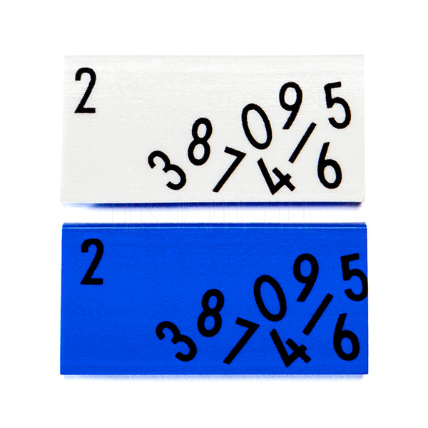 Erasers . Set of 2 . Numbers / Blue + White