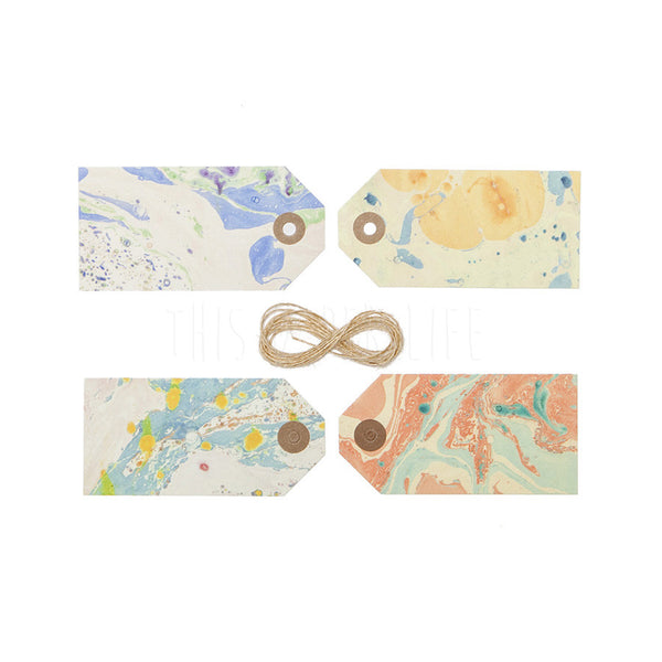 Gift Tags . 4 Set . Marbled