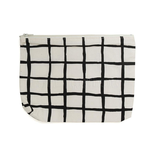 Pencil Case . Black Grid